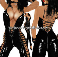 women black sexy leather catsuit