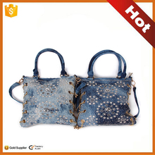 Women Fashion Foldable Canvas For Shopping Bag hand made jeans tote bag for women