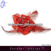 Cheap Wholelsale Red Artificial Flower With Three Feathers From Alibaba