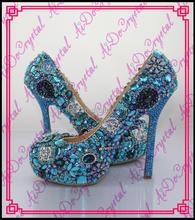Aidocrystal Luxury custom handmade rhinestone royal blue wedding high heel shoes and matching clutch bag set