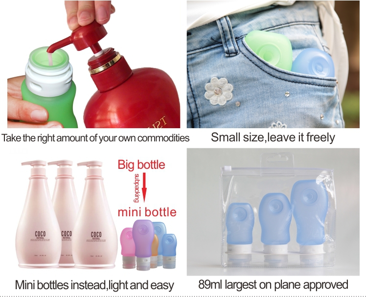 TSA-approved silicons travel bottles for liquids