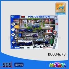 2015 hot selling die cast toys police patrol metal car play set