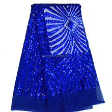 Fashion Royal Blue sequence embroidered tulle lace material HY0321