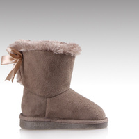 HC-563 Faux suede upper warm faux fur lining TPR outsole back butterfly design cheap cute kids winter shoes
