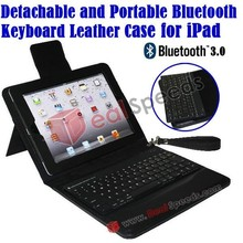 Detchable and Portable Bluetooth Keyboard Leather covers Case for the New iPad/ iPad 2