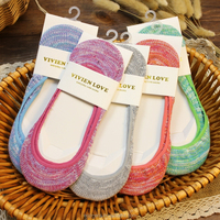 Promotion Ladies' Cotton Invisible Socks Cheap No Show Socks Two Tone Fabric