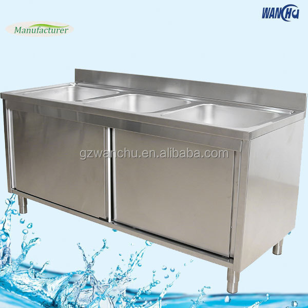 Commercial Triple Bowls Stainless Steel Kitchen Sink Cabinet Buy