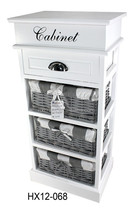 wooden cabinet with open top / wooden cabinet with wicker baskets /wooden storage furniture