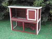 Wooden Rabbit Hutch Pet Guinea Pig House 4 Doors With Ramp