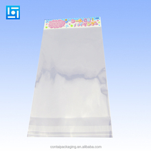 Opp transparent self adhesive packaging printing bags with header and hanging hole