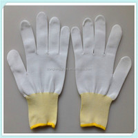 Quality Inspection 13 gauge knitted white Nylon gloves used in cleanroom