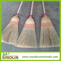 SINOLIN natural sorghum straw corn broom with wooden handle for sale