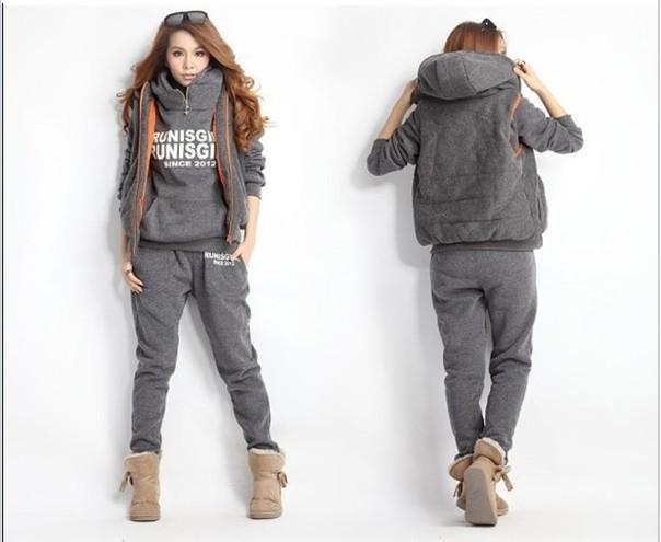 Popular Womens New Ladies Grey Loungewear Set Sweatshirt Joggers Tracksuit