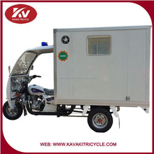 White 3 wheels motorcycle with closed carriage for medical treatment