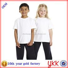 Unisex school t shirt blank t shirt 100% cotton children white t shirt