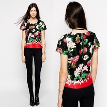 Woven fabric floral t-shirt women clothes