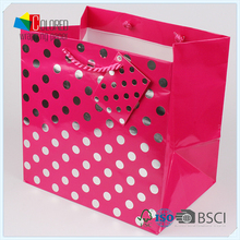 Fashion Metallic Color Shopping Paper Bag with Tag Customed LOGO OEM