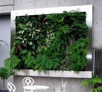 vertical green wall, plastic wall and hanging decorations, plastic garden walls