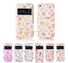 Fashion Colorful Flower View Window Wallet With Stand Ladies Phone Case Cover For Apple Iphone 5S