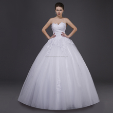 Free shipping sweetheart lace top wholesale 2015 cheap puffy wedding dress without train LCWFaw2096