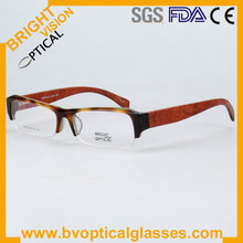 3116 half rim Acetate with wooden temple optical frame