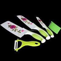 5pcs Non-stick Coating Stainless Steel Flower Printing Knife Set with PP Handle