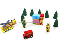 Wooden train track ,car, tree ,station