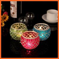 new arrived votive round crackle cylinder tea light glass candle holder
