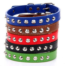 Adjustable Pet Cat Dog Studded Collar PU leather Spike Punk Collar