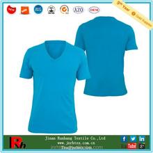Custom mens blue color 100 cotton v neck t-shirt blank