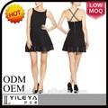 moda casual extendido negro diseño de vestido de las mujeres