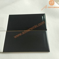 black subway beveled tiles matte and glossy 75x150mm 3x6 inch