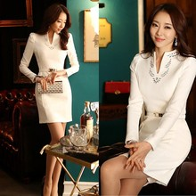 Fashion High Quality Spring Casual Women Clothes White/Black Office Lady's Long-Sleeve Dress With Belt SV00003131
