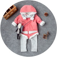 Kids 3 Piece Clothing Set Include Girls Hooded Coat And Trousers And Scarft Wholesale Children Clothing CS81106-26