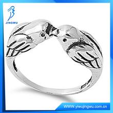 2014 New Design Sterling Silver Love Bird Kissing Ring