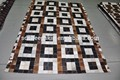 elegante de cuero de vaca alfombras patchwork