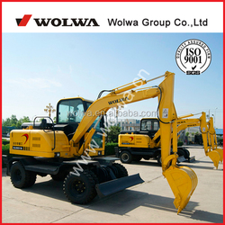 6T mini wheel excavator with 0.24 bucket capacity with CE certification for sale