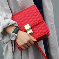 2015 Classic fashion! quilted mini chain bag, crossbody bag in red / black