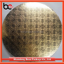 Round Gold foil corrugated cake drum with edge wrapped