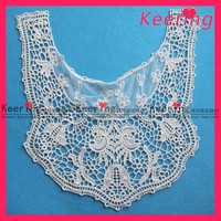 garment element white cotton embroidery lace patch WLS-454