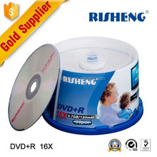 RISENG 4.7GB wholesale blank dvd 16x/silk printing dvd blank/BLANK DVD 50pcs cake box package