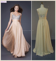 Champagne Sleeveless Sweetheart Neckline Beaded Pleated Empire Waist Chiffon Pictures Formal Dresses Women