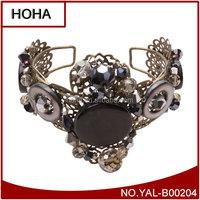 NEW Women Fashion Vintage Gray Black Filled Teardrop Crystal & Agate Tiara Bracelet Jewelry