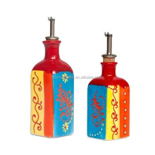 Hand Painted Oil and Vinegar Porcelain Cruet Set