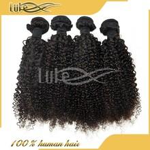 Pretty natural color kinky curl virgin Malaysian hair weaving spiral hair clip