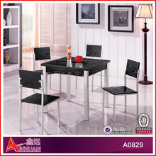 A0829 black top dining room furniture / square dining table with 4 chairs / new classic wooden dining room set