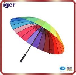 Unique 24 ribs manual open straight rain umbrella