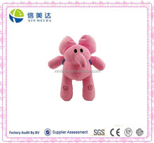 Cute Pink Elephant Plush Doll with A Little Backpack Toy
