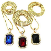 Faux Ruby Onyx Sapphire Stone Triple Pendant Set w 2mm Box Chain Necklaces in Gold-Tone