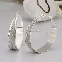 High Quality Sterling Silver Plated Big Round Shape Hoop Earring For Girls Jewelry
